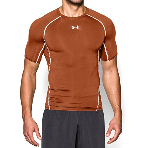 Printed Crew Rash Guard - Under Armour Men's HeatGear Armour Short Sleeve Compression Shirt, Texas Orange/White, X-Large
