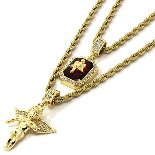 - Jewel Town Mens Gold Angel & Ruby Bundle Set Cz Pendant Hip Hop 24