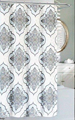 Nicole Miller Fabric Shower Curtain Beige Taupe Blue Diamond Medallions on White -- Helga - Nicole Miller Shower Curtain