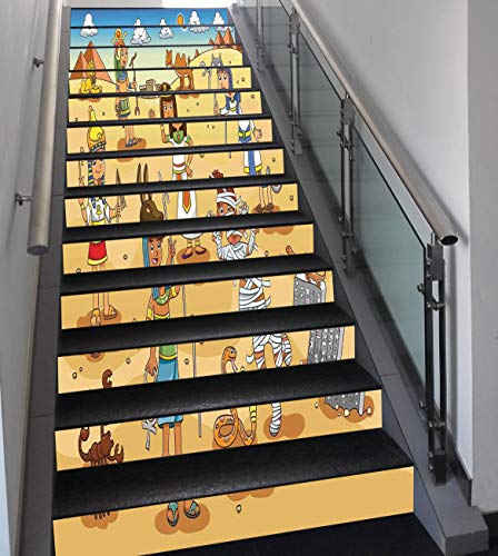 Stair Stickers Wall Stickers,13 PCS Self-Adhesive,Cartoon,Historical Egyptian Characters with Pyramids Cleopatra King Mummy Child Decor, Multi,Stair Riser Decal for Living Room, Hall, Kids Room -