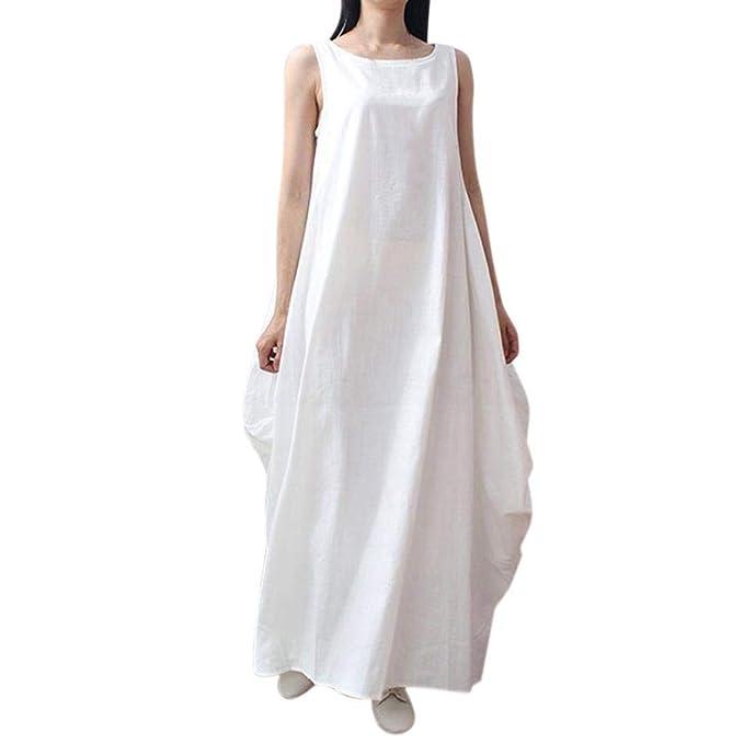 DOGZI Mujer Vestido Corto sin Mangas con Estampado Playa Verano Boho para Mujer Vestido Casual Largo