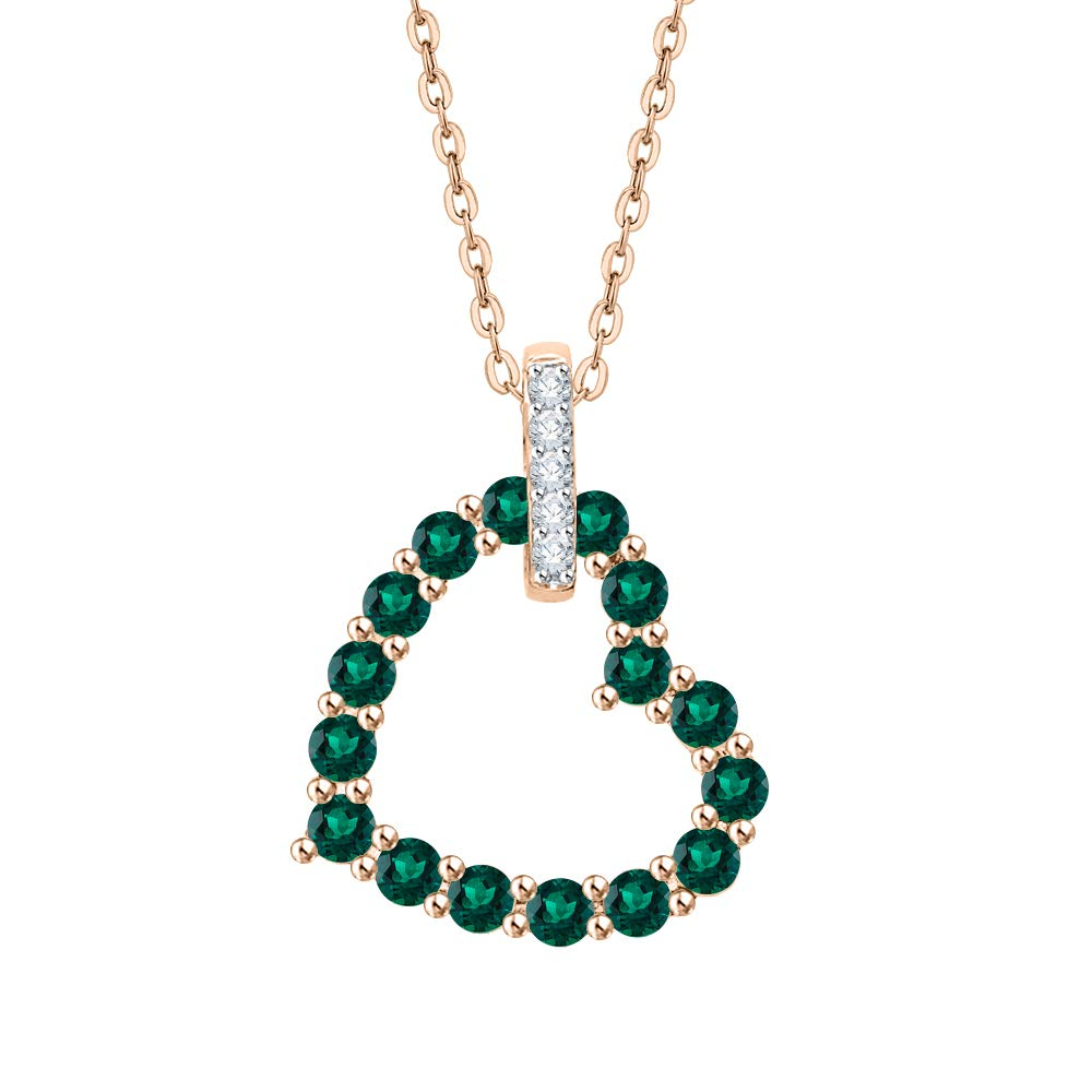 KATARINA Diamond and Gemstone Heart Pendant Necklace in 10k Gold 1 1//4 cttw, J-K, SI2-I1