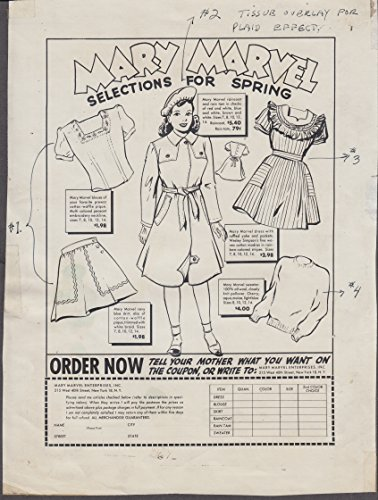 Mary Marvel Selections for Spring girls clothing advertising mat proof ca 1950s