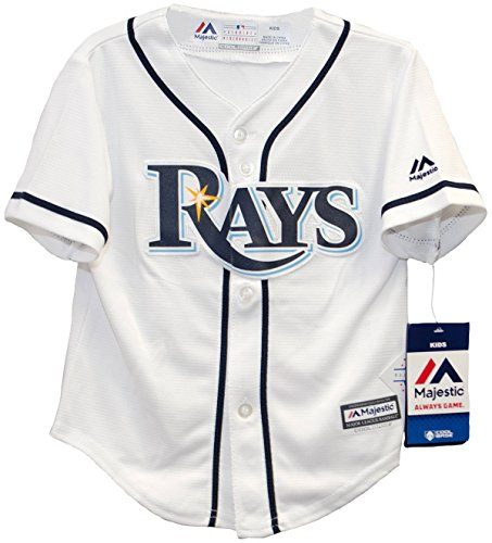 (Majestic Toddler MLB Tampa Bay Rays White/Navy Blue Baseball Jersey (2 Toddler))