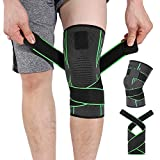 Knee Brace Compression Knee Sleeve - HOMPO Non-slip Adjustable Knee Brace Wraps with Pressure Strap Best Support & Pain Relief Pain Relief, Meniscus Tear, Arthritis, ACL, MCL,Suit for Running, Cycling, Tennis, Golf and Basketball ( Single)
