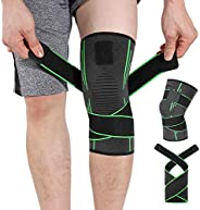 Knee Brace Support, HOMPO Compression Knee Sleeve with Adjustable Strap for Workouts, Knee Support for Running