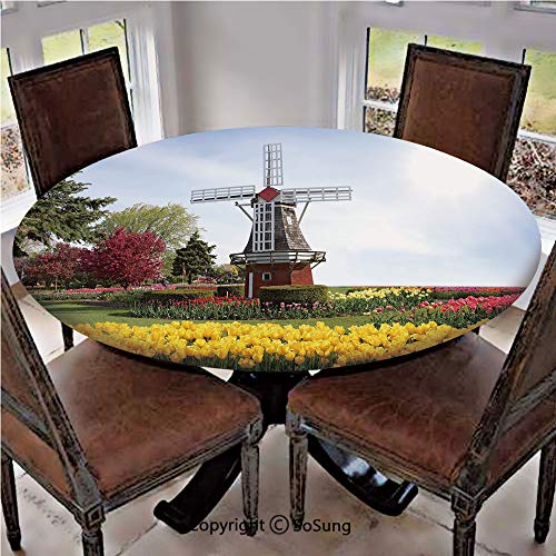 (Elastic Edged Polyester Fitted Table Cover,Serene Vast Traditional Garden with Blossoming Flowers Trees Dutch Tulips Decorative,Fits up 40