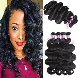 "8A Brazilian Virgin Hair Body Wave Remy Human Hair 4 Bundles Deals 24"" 26"" 28"" 30"" 100% Unprocessed Brazilian Hair Extensions Natural Color Weave Bundles by Grace Length Hair"