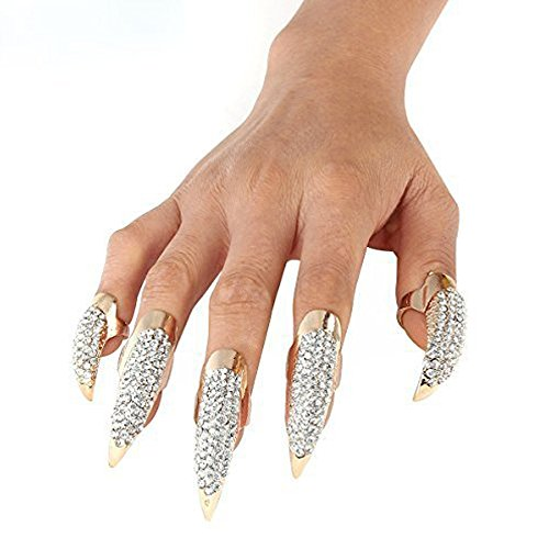 LOHOME Set of 5-pieces Retro & Punk Finger Eagle Claw Ring - Bend Crystal Rhinestone Paved Fingertip Paw - False Nails Set for Halloween &
