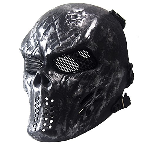 Annay Skull Skeleton Full Face Airsoft Mask with Metal Mesh Eye Protection Army Tactical Mask for Halloween Airsoft BB Paintball Gun CS Game Cosplay and Masquerade Party Silver Gray