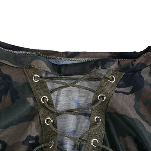 Ajuste Profond Camouflage V green Manches Couleur Col Maxi T Shirt Femmes Longues Lacets Aelegant Sexy w8qXv8