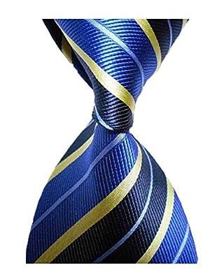 L04BABY New Classic Striped Blue Yellow Jacquard Woven 100% Silk Men's Tie