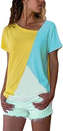 Minetom Mujeres Verano Camisetas Pullover Casual Camisa Manga Corta Asimétrica Cuello V Blusa Patchwork Tops: Amazon.es: Ropa y accesorios