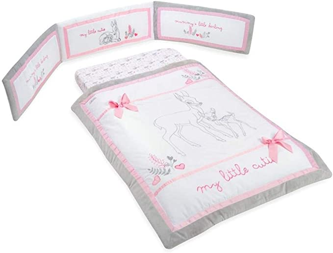 Coton Rose Dearest Bambi Parure de lit de berceau 4PC rose
