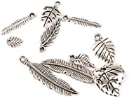 50pcs Silver Leaves Charms Pendant Beads Jewellery Making