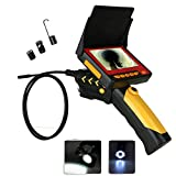 "MOUNTAINONE Longer 5 Meters 8.2mm Tube Snake Camera Cam Endoscope Inspection Borescope Video DVR 4.3"" Monitor 6 Leds Night Vision Waterproof w/ Hook Magnet Mirror"