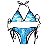 Women Cool Blue Phoenix Printing Summer Sexy Two Pieces Swimsuit Bathing Suit