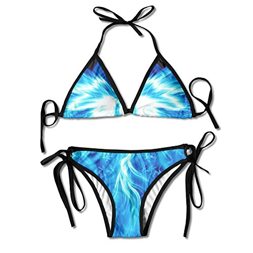 Women Cool Blue Phoenix Printing Summer Sexy Two Pieces Swimsuit Bathing Suit by Most Fashion Maker