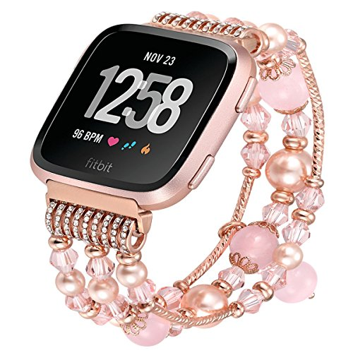 fastgo Compatible Fitbit Versa Bands for Women, Compatible Fitbit Jewelry Bracelet Bands Wristbands Compatible Fitbit Versa Smart Watch Replacement
