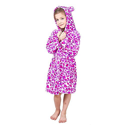 Boys & Girls Bathrobes, Plush Soft Coral Fleece Floral Hooded Sleepwear for Kids Size 14 - Classic Hooded Hat