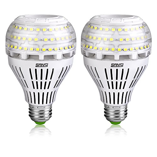 SANSI A21 22W (250-200Watt Equivalent) Omni-Directional Ceramic LED Light Bulbs–3000 lumens, 5000K Daylight, CRI 80+, E26 Medium Screw Base Home Lighting (2Pack)