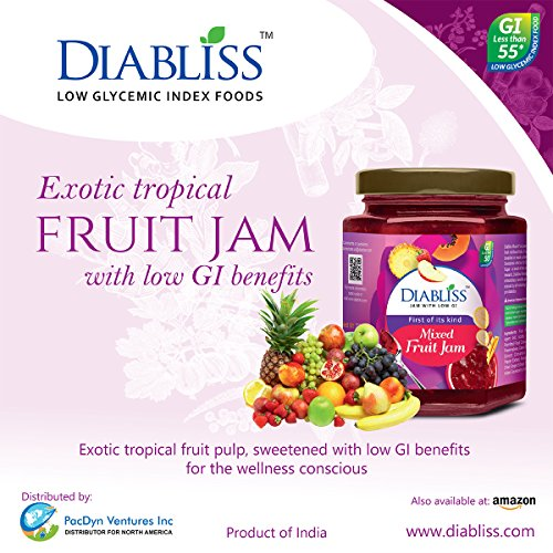 Diabliss Mixed Fruit Jam with Herbal Extract Blend - Low GI - 11.5 Oz Bottle