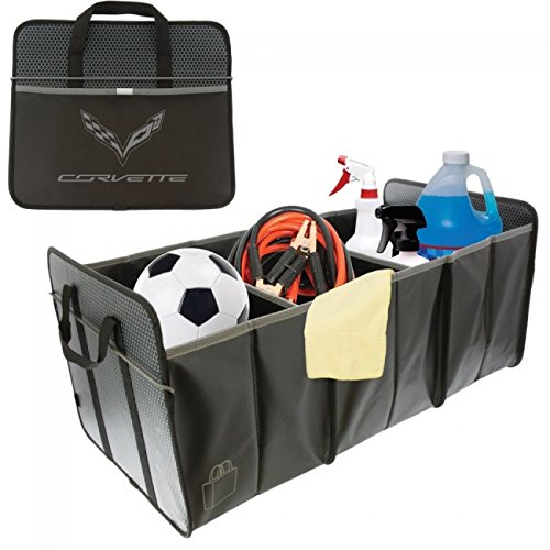 Trunk Mat Camaro (C7 Corvette Trunk Caddy Collapsible Cargo Organizer with Crossed Flags Logo)
