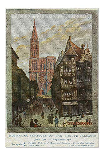 Strasbourg, France - Crowded Streets and Cathedral; Alsace and Lorraine Railways (20x30 Premium 1000 Piece Jigsaw Puzzle, Made in USA!)