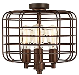 Industrial Cage Oil-Rubbed Bronze Ceiling Fan Light Kit