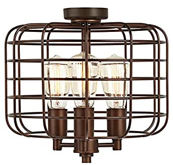 Industrial Cage Oil Rubbed Bronze Ceiling Fan Light Kit Amazon Com