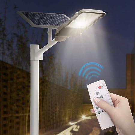 SOLIGHTS Farola Solar LED Exterior Impermeable IP65 Lámparas Solares 50W~150W,con Panel Fotovoltaico Inclinable Y Mando A Distancia/Sensor Crepuscular para Camino, Valla, Cubierta, Patio, Garaje,150W: Amazon.es: Hogar