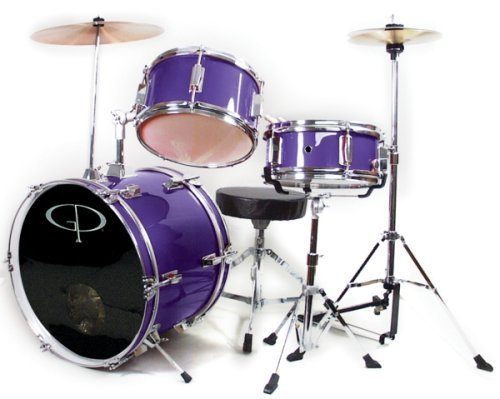 GP50 3-Piece Junior Child/Kids Drum Set with Sticks - Metallic Purple (For 3 to 8 yrs) by GP (Image #1)