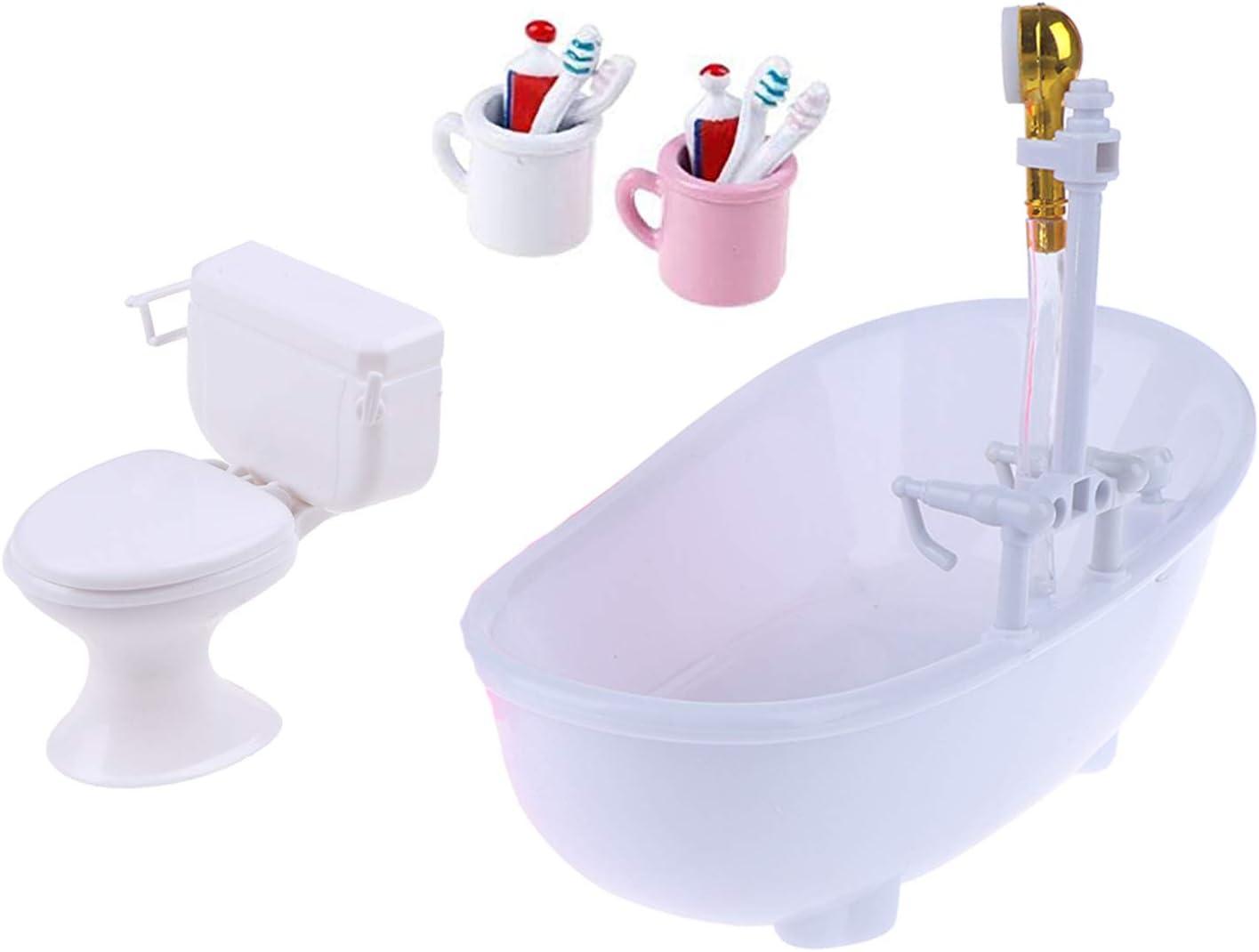 Welecom 1:12 Dollhouse Vintage Bathroom Bathtub Toilet 1/6 Dollhouse Miniatures Electric Bathtub with Spray Head Mini Toothbrush Toothpaste Cup Doll Tub Fairy House Furniture Kids Pretend Toys