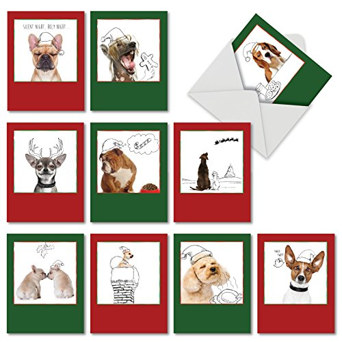 Holiday Dogs and Doodles' Christmas Cards, Boxed Set of 10 Puppies and Christmas Illustrations Holiday Notes 4 x 5.12 inch, Christmas Doggies with Santa Hats in Black and White Sketches M6582XSB ()