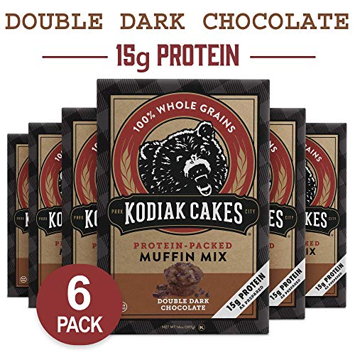 Kodiak Cakes Power Bake, Protein Muffin Mix, Double Dark Chocolate, 14 Ounce (Pack of 6)
