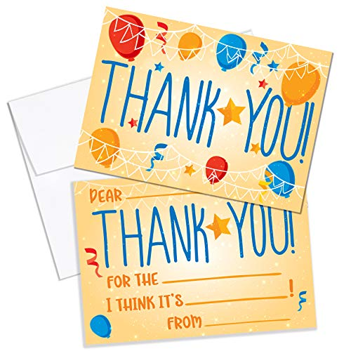 Thank You Cards Kids Birthday Party Thank You Notes. 25 Fill in the Blank Thank You Notes for Kids, Children, Toddlers, Boys, Girls with Envelopes.