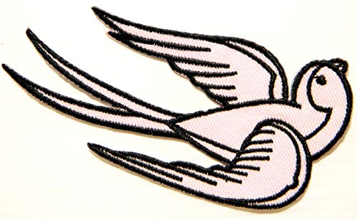 ANIMAL BY PACTH CAFE Left Pink Bird Sparrow Swallow Dove Rockabilly Tattoo Style Lady Rider Jacket T Shirt Patch Iron on Embroidered Applique Badge Sign Costume Accessories Craft Clothes]()