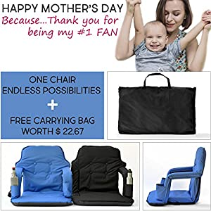 Portable Stadium Chair For Bleachers – Extra Wide Deluxe Model + Free Storage Bag– Water Resistant + Padded Back& Armrest+2 front pockets By Smart Ideas (Blue)