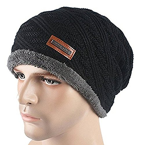 WOZHIFU Men Soft Lined Thick Wool Knit Skull Cap Warm Winter Slouchy Beanies Hat, Black, XX-Large