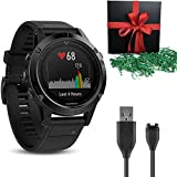 garmin 900 - Gift Package: Garmin Golf GPS Watch Fenix 5S, Black Sapphire with Black Band + 1 USB Charging/Data Cable
