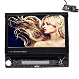 Single Din 7 inch slip down Car Stereo,In dash 1080P TFT/LCD Touch Screen Car FM Radio Receiver with USB/SD/Bluetooth, Car DVD Player Support Rear Camera for Universal CW96O1+Backup Camera