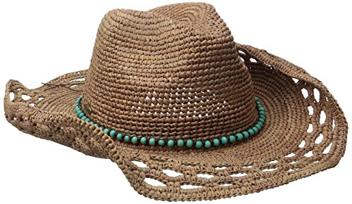 Callanan Women's Crochet Raffia Pinch Front Hat, Tea, One Size