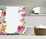 Rdsfhsp Watercolor Flower Decor Collection, Floral Frame with Summer Flowers ROS Natural Picture, Polyester Fabric Bathroom Shower Curtain Set with Hooks, Pink Navy Blue Purple White