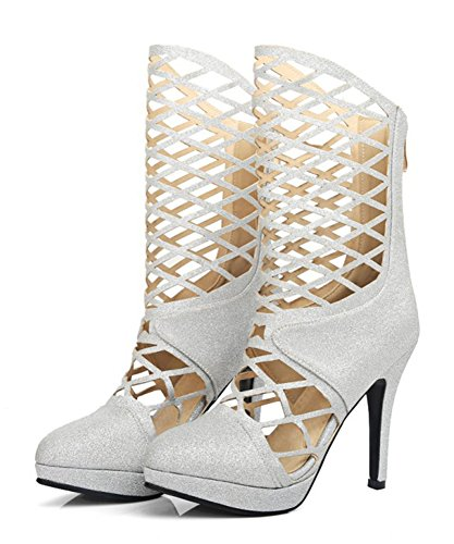 Aisun Womens Sexy Pointed Toe Sipper Gladiator Platform Mid Calf Tall Sandals Silver ReMW4G8h3R