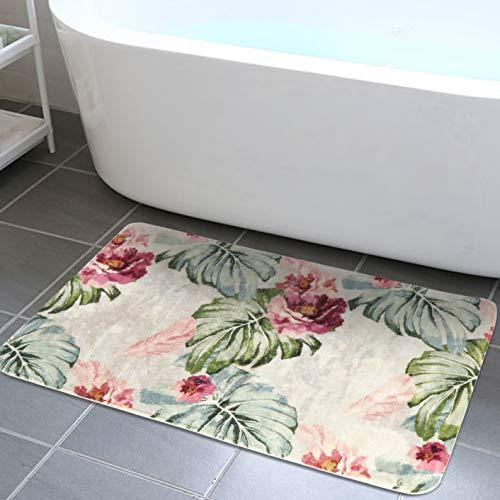 HAOCOO Area Rugs 2'x3' Palm Leaves Flower Faux Wool Bath Mat Non-Slip Door Carpet Soft Luxury Microfiber Machine-Washable Floor Bathroom Rug for Doormats Tub Shower