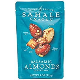 Sahale Snacks Balsamic Almonds Glazed Mix, 4 oz. - Nut Snacks in a Grab 'n Go Pouch, No Artificial Flavors, Preservatives or Colors, Gluten-Free Snacks 182 BETTER EVERYDAY SNACKING - When you're on the go to your next adventure, finding the perfect snack can be difficult. But with Sahale balsamic almonds glazed nuts snacks, you'll always have a delicious and wholesome option to stay energized and satisfied. PERFECT BALANCE - These nut snacks feature the perfect blend of whole dry-roasted almonds, dried apples, flax seeds, a pinch of cayenne pepper and it's all finished with a rich, subtly tart balsamic glaze. RESEALABLE POUCH -  The nut mix snacks are in a resealable pouch that helps keep them fresh, so you can enjoy a delicious nut mix in your home, office and more.