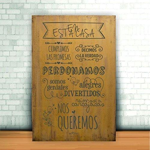 Enkolorcuadro Maderafrases Positivasnormas De Casaartesanalmostaza40x60cm