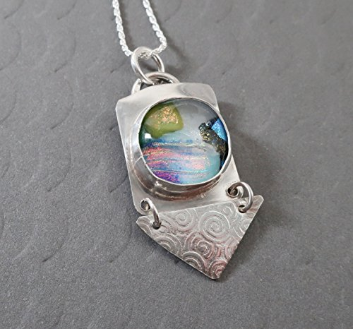 Sterling silver fused dichroic glass landscape necklace textured triangle dangle 18