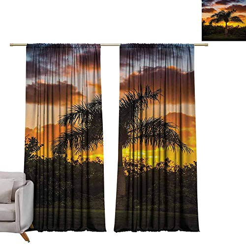 Foil Palm Tree Silhouette - berrly Energy Saving Curtains Palm Tree,Palm Tree Silhouette Scene at THR Sunset Twilight Tranquility in Nature Image,Orange Green W72 x L84 Thermal Insulated Draperies