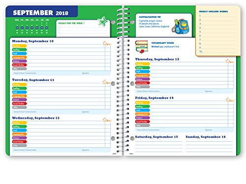 Dated Elementary Student Planner for Academic Year 2018-2019 (Block Style - 8.5''x11'' - Blue Burst Cover) - Bonus Ruler/Bookmark and Planning Stickers by Global Datebooks (Image #4)